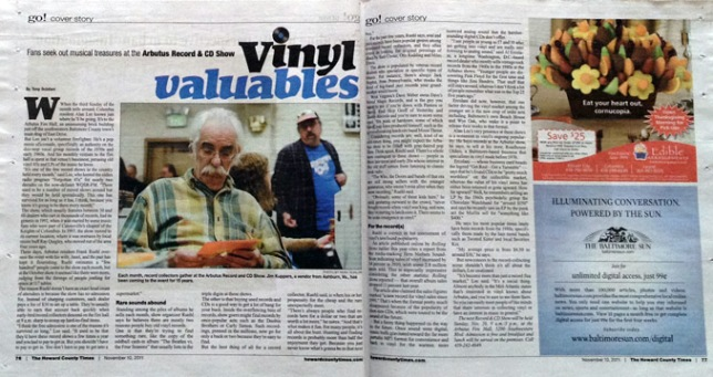 Vinyl Valuables Article Arbutus Record Show, inside spread