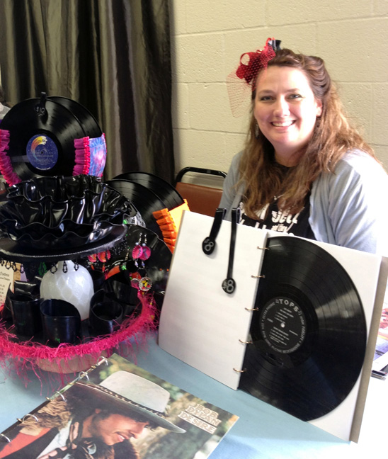 Laura Kooyman with her record crafts for dale