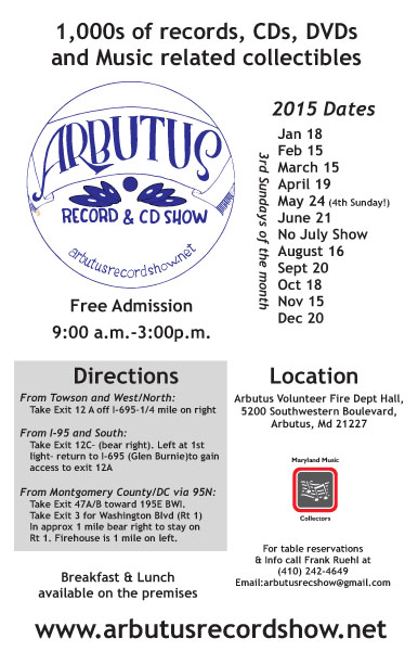 Arbutus Record Show 2015 flyer