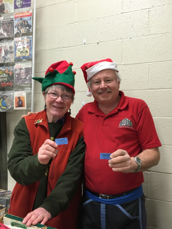 Janet and Derek at the arbutus record show Christmas show